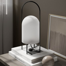 WOUD Ghost table lamp CE - Black painted metal with opal glass shade