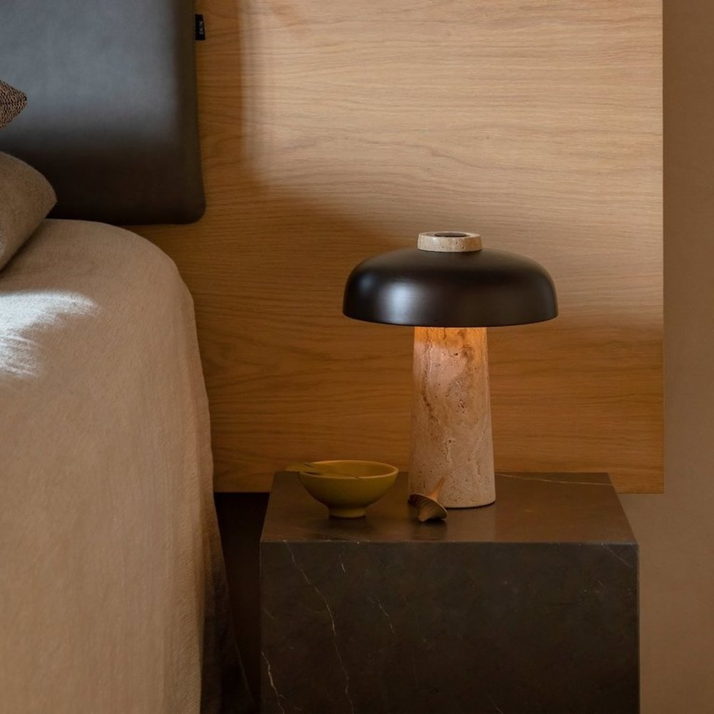 MENU Reverse, Table Lamp, Travertine, Bronzed Brass