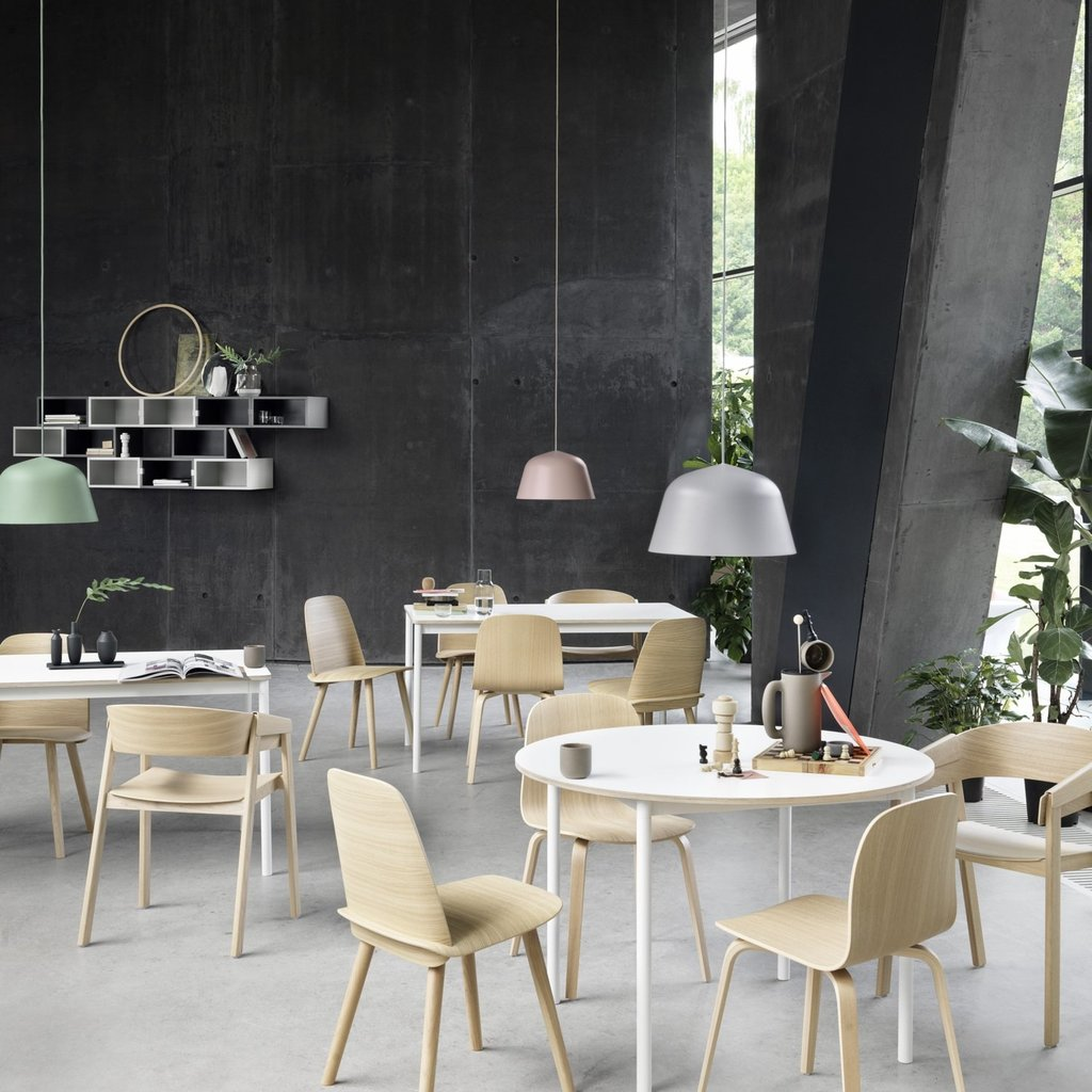 Muuto Base Table 90 White Laminate/Plywood White