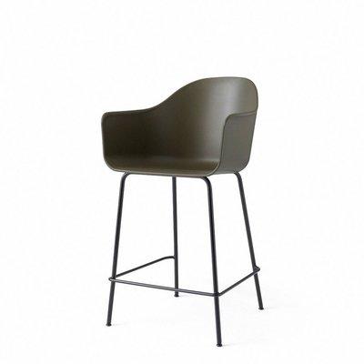 MENU Harbour Counter Chair, Black Base, Olive