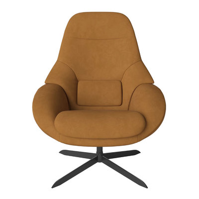 Bolia Saga Armchair with return swivel function with footstool and headrest - Austin Leather, Black Lacquered Steel, Cognac - SHOWROOM MODEL