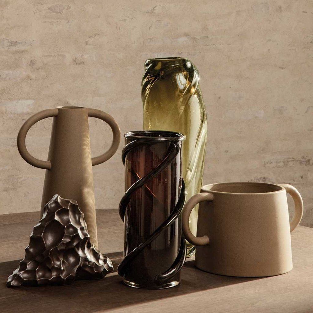 Ferm Living Water Swirl Vase - Tall - Light yellow