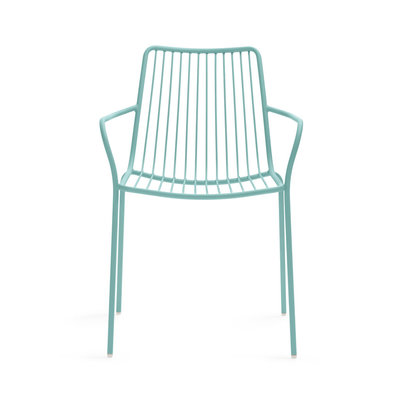 Pedrali Armchair NOLITA with low back 3655, light blue powder coated for outdoor (AZ100) - SHOWROOM MODEL