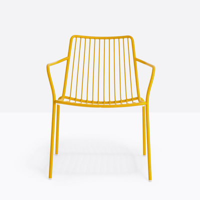 Pedrali Armchair NOLITA LOUNGE 3659, yellow powder coated for outdoor (GI100) - SHOWROOM MODEL