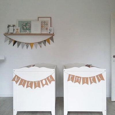 Kinderkamer tweeling naamslinger kurk
