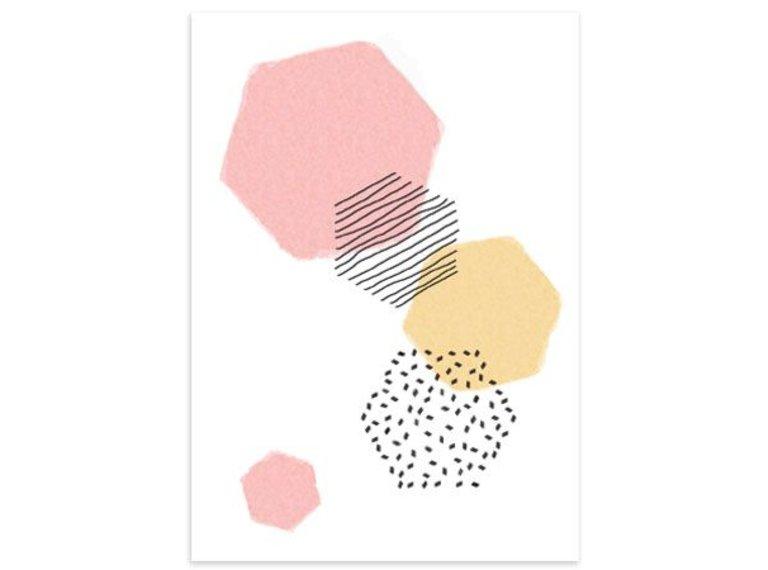 Kaart Hexagons roze/geel