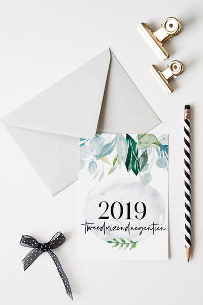 Hippe kerstkaart nieuwjaarskaart 2019