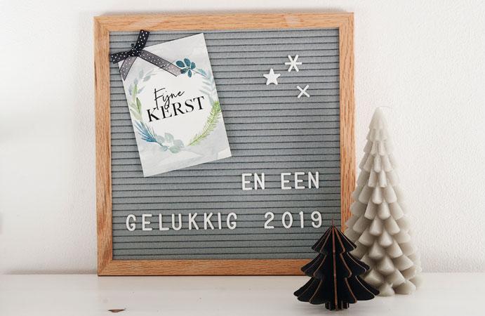 Kerst letterbord kaars
