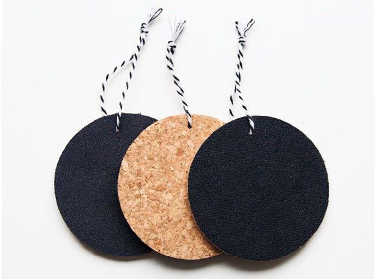 Wonen voor jou Drie hangers rond kurk met antraciet velours