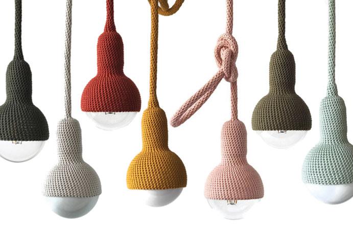 Gehaakte lampen in nieuwe kleuren