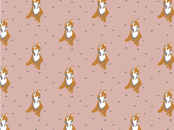 Behang vosjes roze/bruin