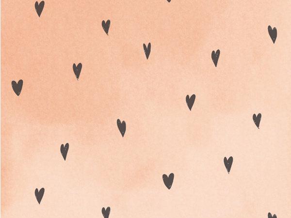 Behang hartjes perzikroze