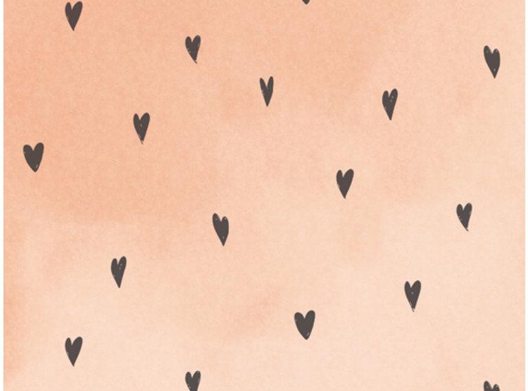 Wonen voor jou Behang hartjes perzikroze aquarel