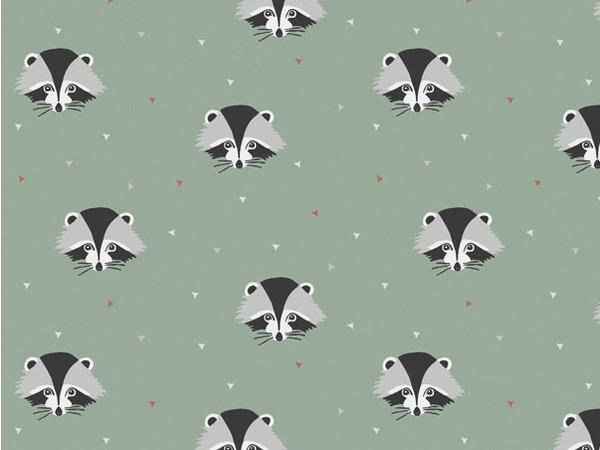 Behang wasbeertjes groen