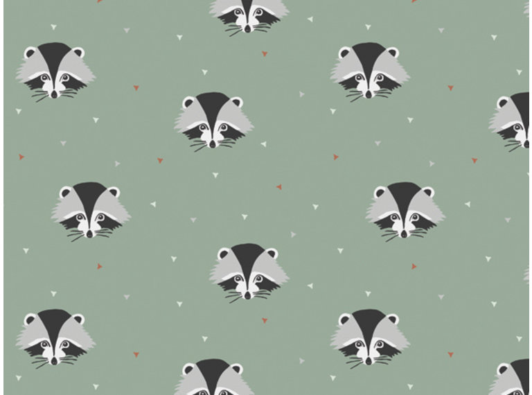 Wonen voor jou Behang wasbeertjes groen