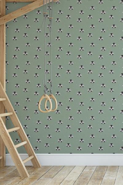 Behang Pastel Groen.Behang Wasbeertjes Op Groene Achtergrond Wonen Voor Jou