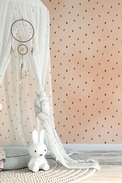 Behang perzikroze hartjes meisjeskamer
