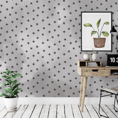 Behang werkplek grijs plusjes
