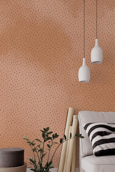 Behang roestbruin zwarte stip woonkamer