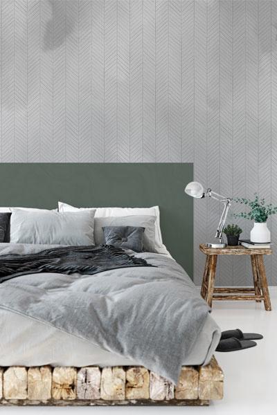 Behang slaapkamer grijs visgraat