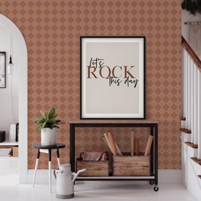 Behang woonkamer grid bruin