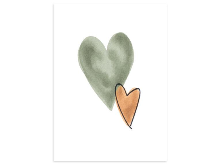 Wonen voor jou Kaart hartjes groen/bruin