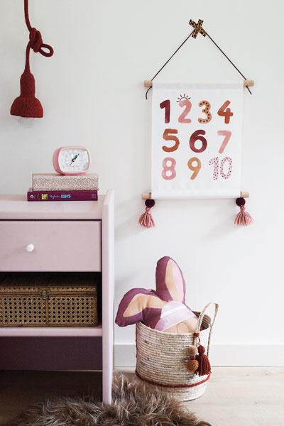 Meisjeskamer roze lamp textielposter