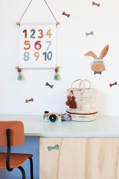 Muurstickers konijn met textielposter cijfers