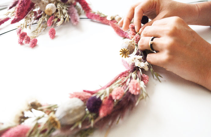 DIY: Krans maken van droogbloemen