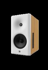 Dutch & Dutch 8C speaker, white baffle, natural cabinet