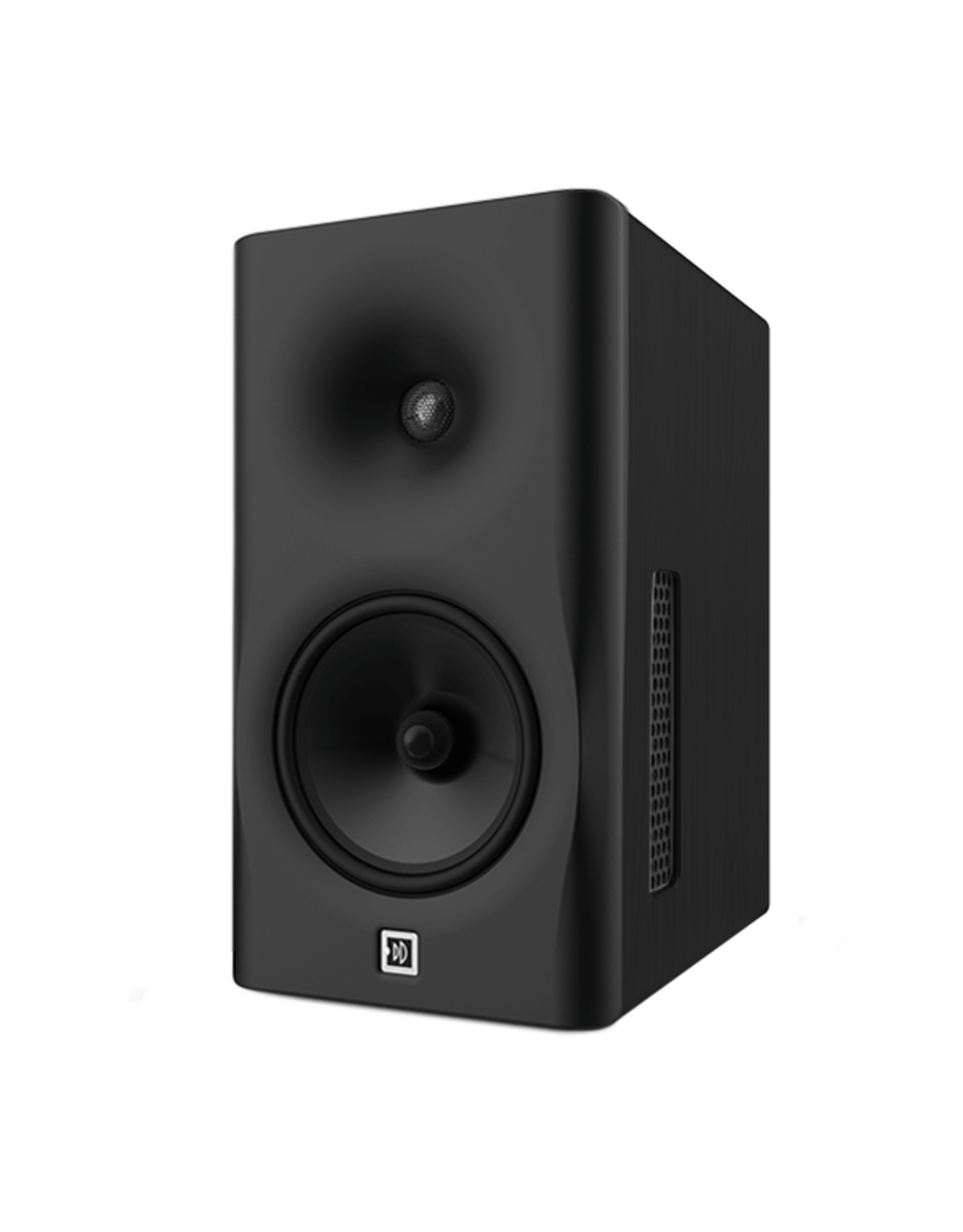 Dutch & Dutch 8C speaker, black baffle, brown cabinet