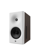 Dutch & Dutch 8C speaker, white baffle, brown cabinet