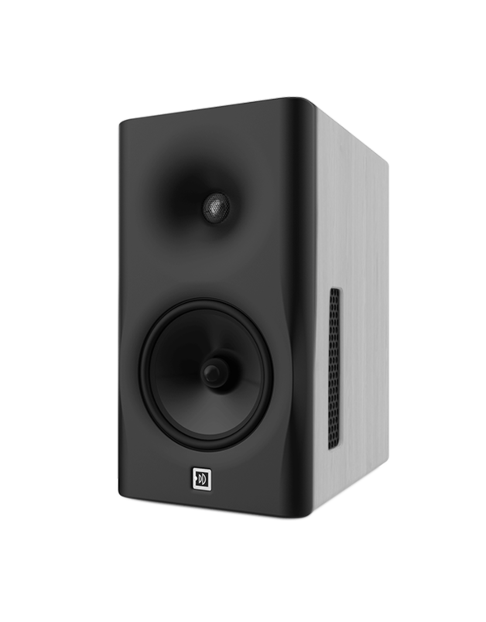 Dutch & Dutch 8C speaker, black baffle, white cabinet