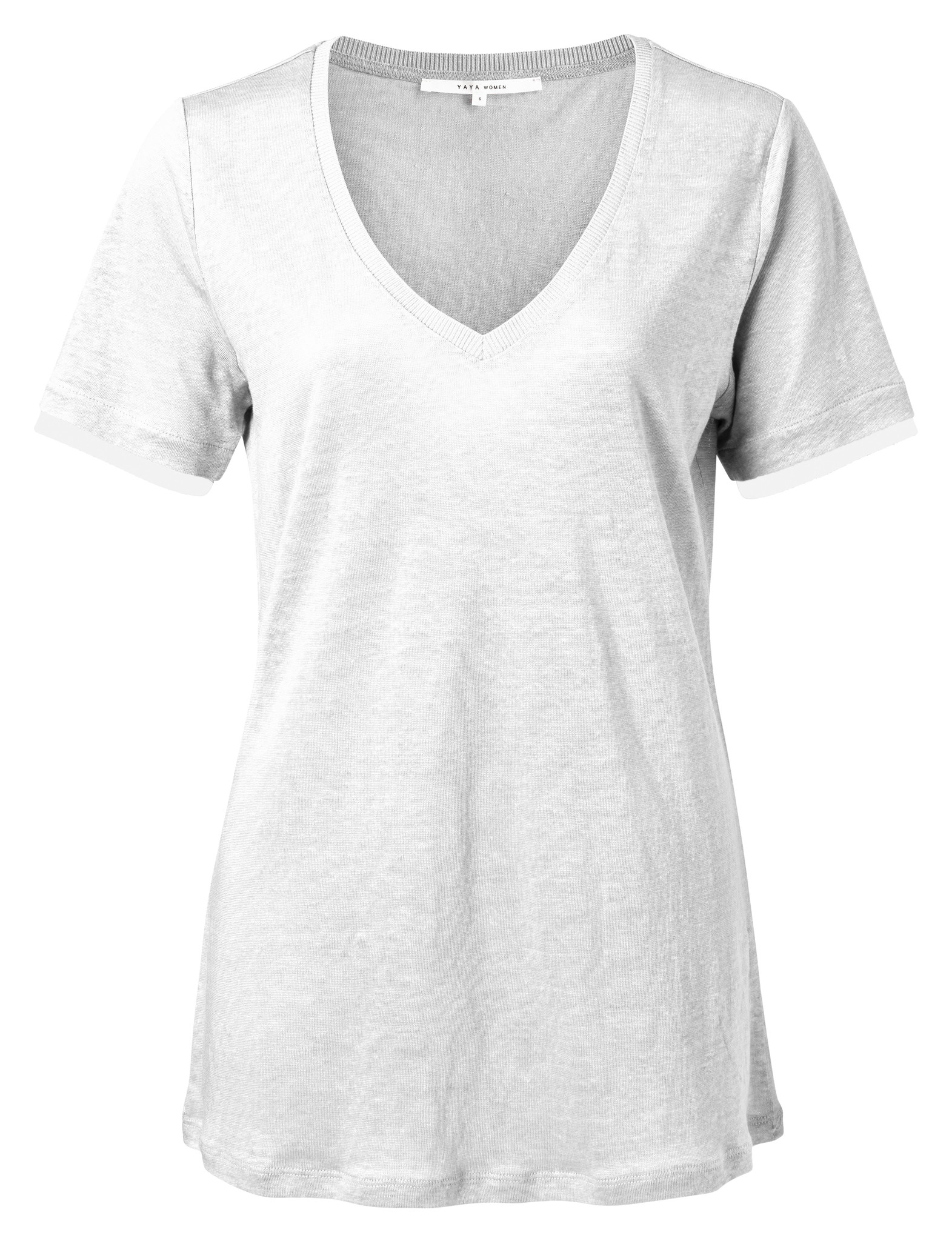 yaya V-neck tee with wove 1919168-113-1
