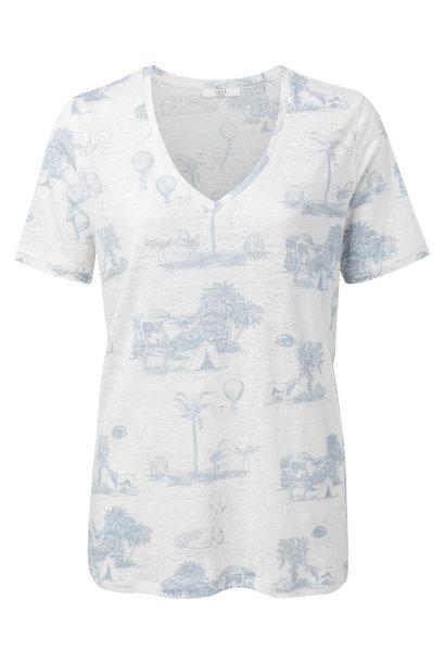 yaya Linen T-shirt with s 1909286-014 341111