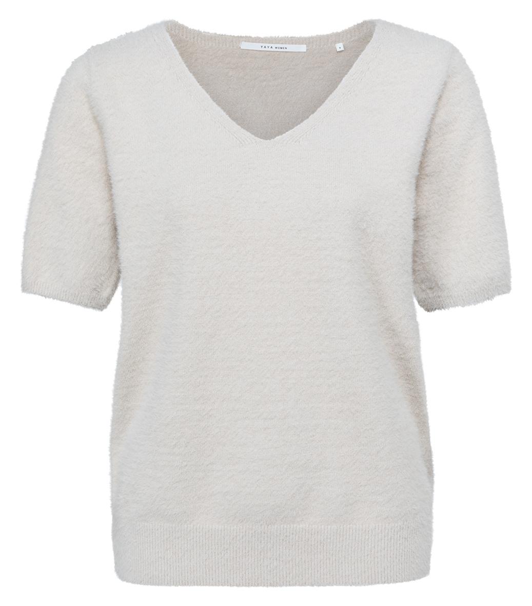 yaya Fluffy sweater V-nec 1000479-122-1