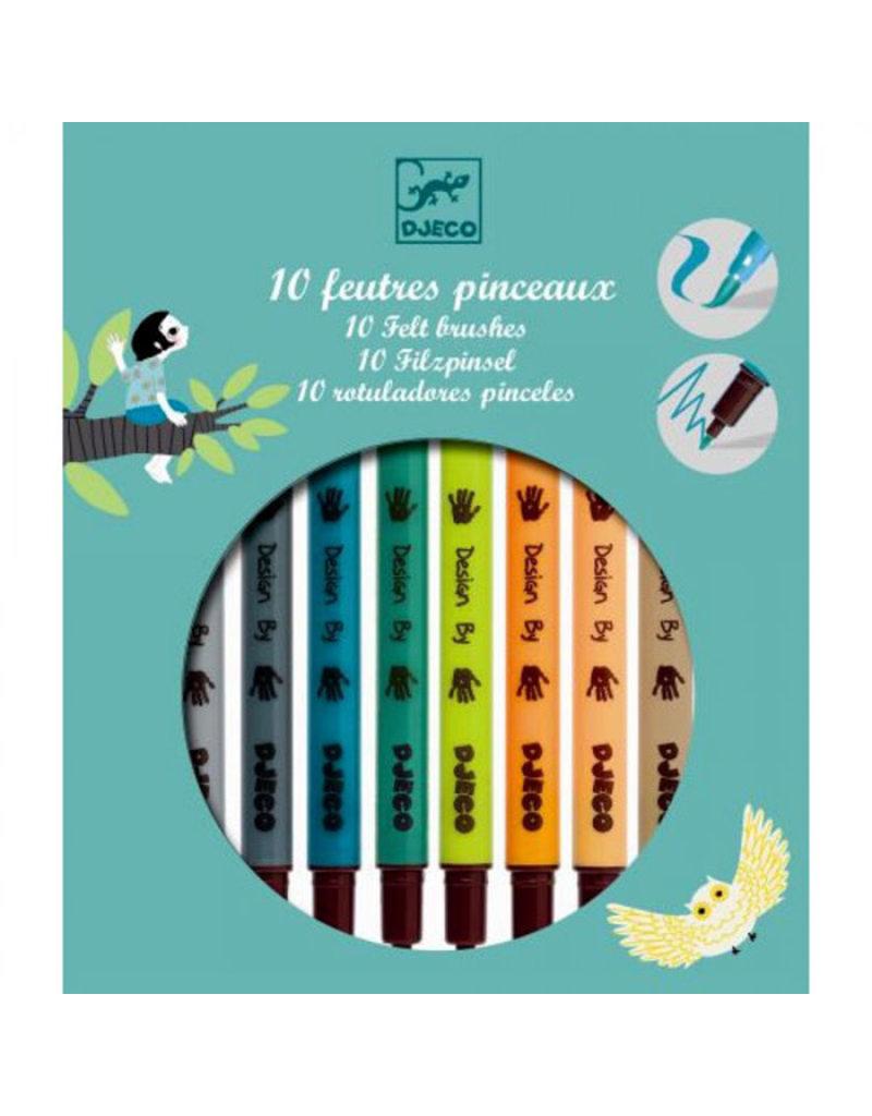 Djeco Djeco - viltstiften, 2 punten, natuurkleuren, 10 stuks