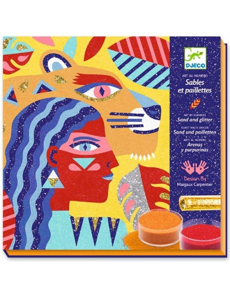 Djeco Djeco - zand en glitter, kunst op nummer, totemdier