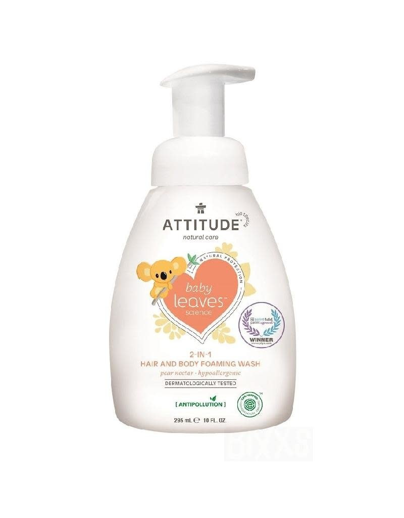 Attitude Attitude - Baby Leaves 2-in-1 Hair and Body Foaming Wash, Pear Nectar
