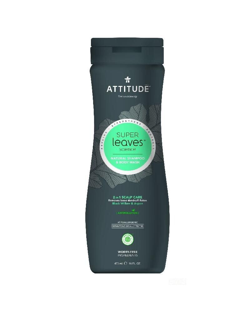 Attitude Attitude - Super Leaves 2-in-1 Shampoo and Body Wash, Scalp Care Men