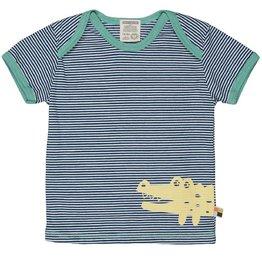 Loud+Proud T-shirt, ultramarin streepjes, gele krokodil