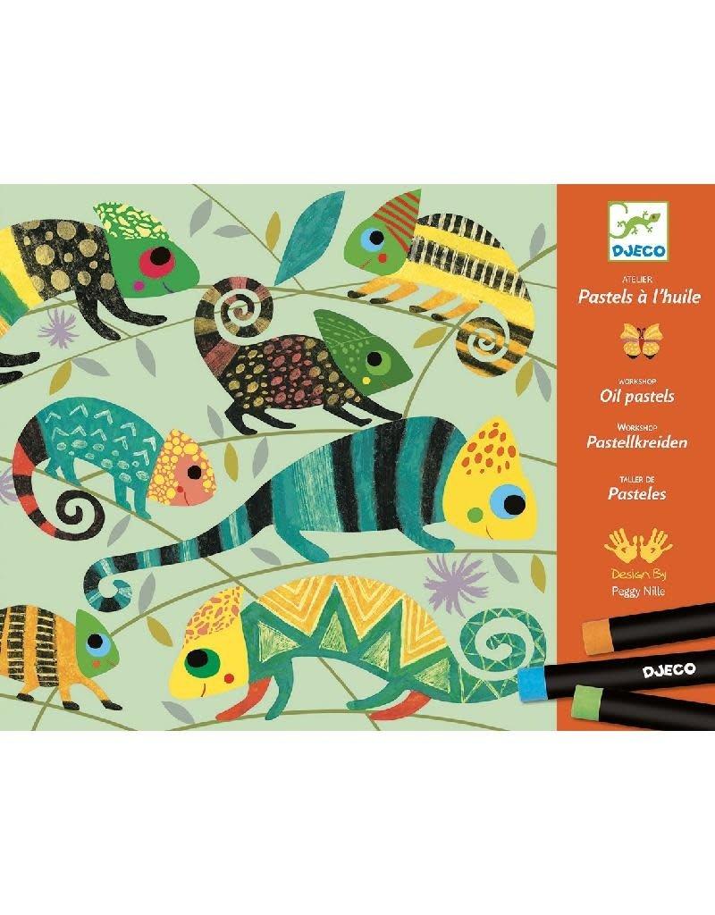 Djeco Djeco - atelier met oil pastels, kleurrijke jungle