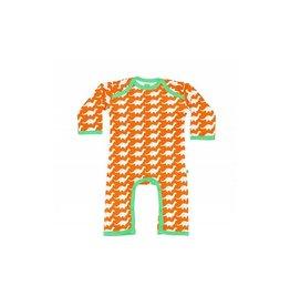 Sture & Lisa Jumpsuit, oranje, dino's (0-2j)