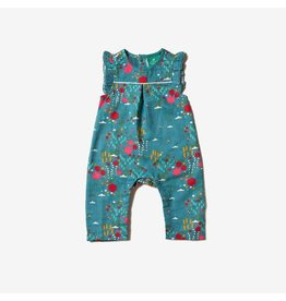 Little Green Radicals Playsuit, frill, Wildflower Meadow