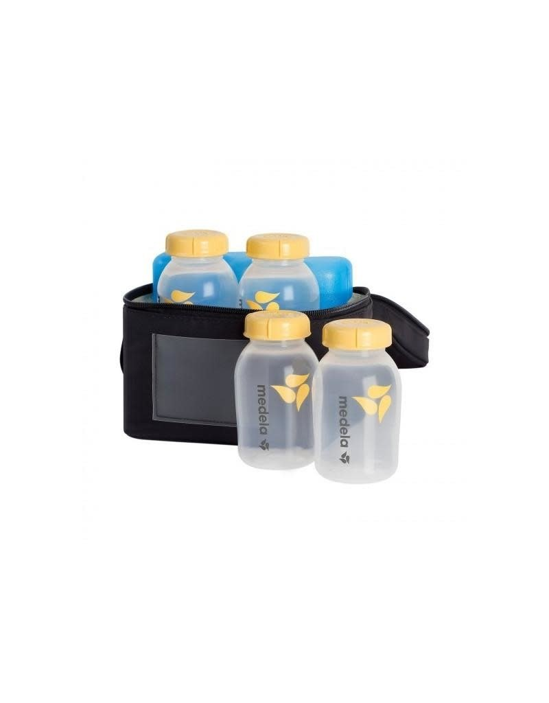 Medela Medela - koeltasje + koelelementen, inclusief 4 flesjes van 150 ml