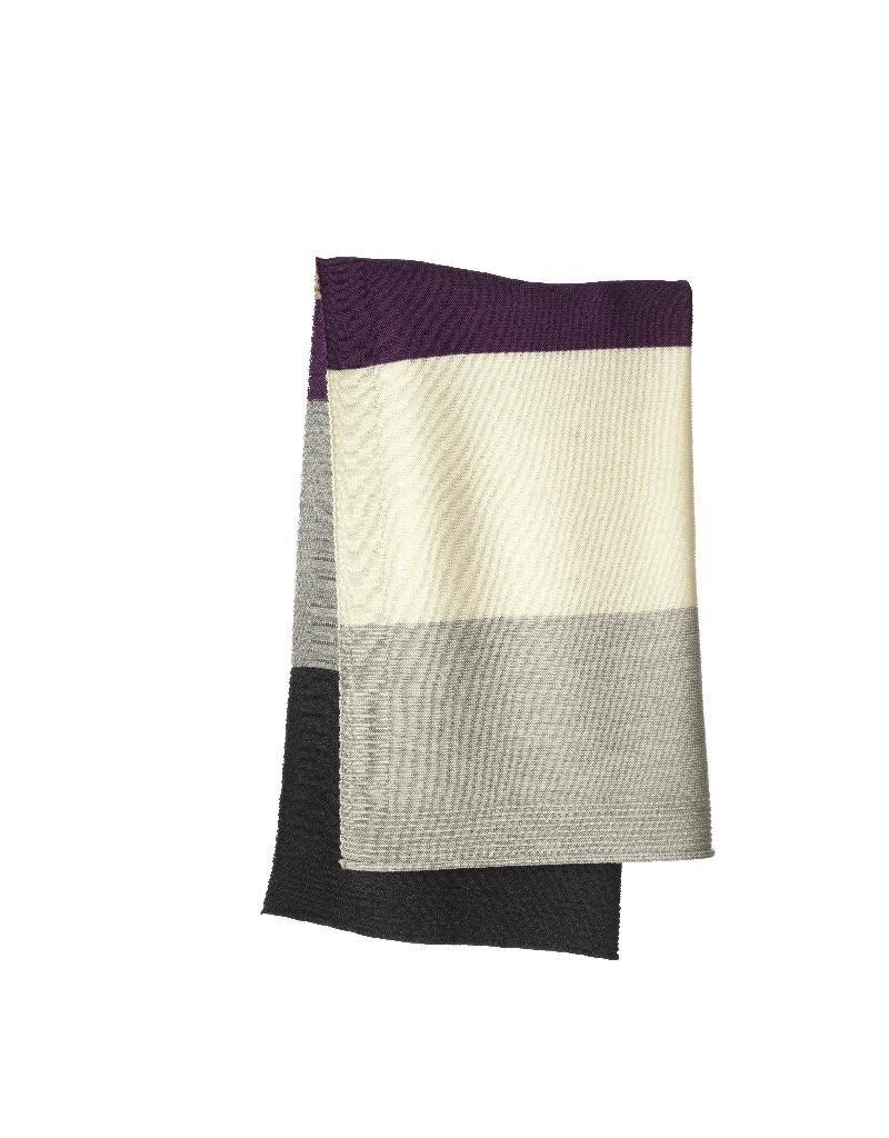 Disana Disana - deken, gestreept, plum/grey, 100 x 80 cm