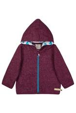 Loud+Proud Loud+Proud - kaptrui met rits, melange knit, plum