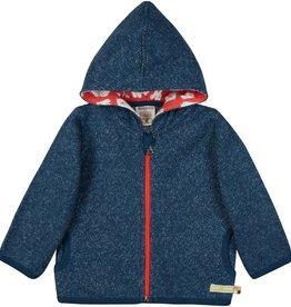 Loud+Proud Kaptrui met rits, melange knit, ultramarine (0-2j)