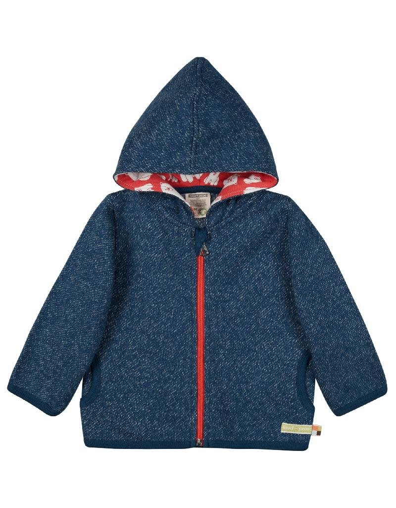 Loud+Proud Loud+Proud - kaptrui met rits, melange knit, ultramarine - B