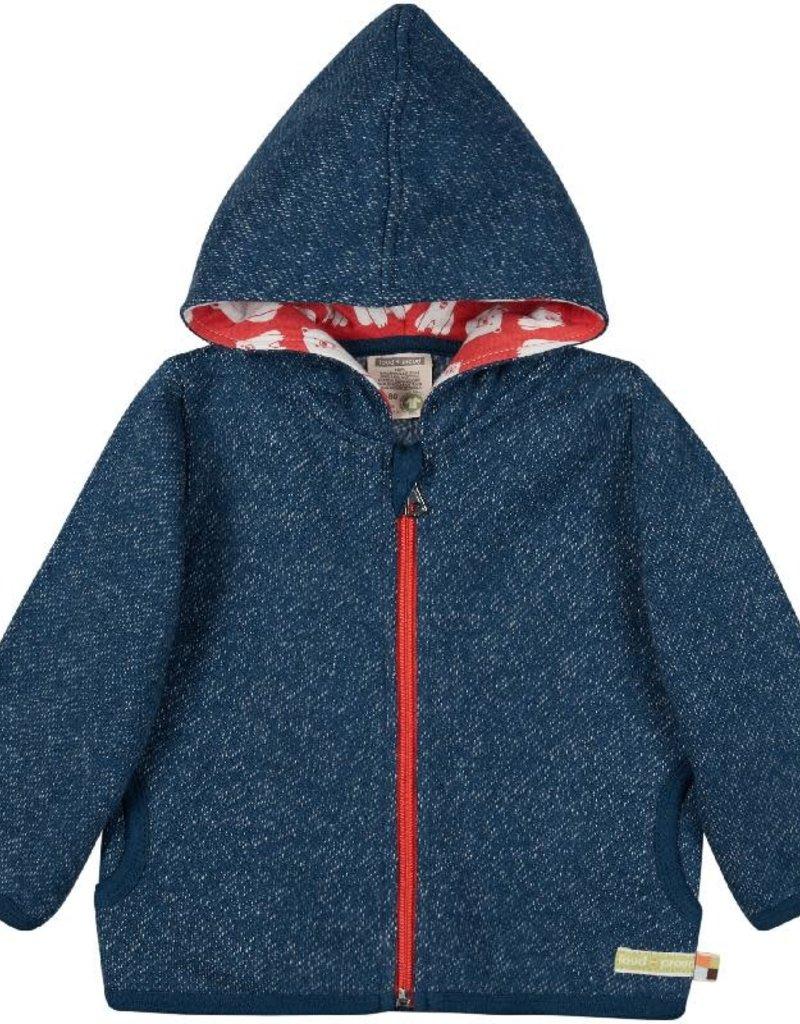 Loud+Proud Loud+Proud - kaptrui met rits, melange knit, ultramarine